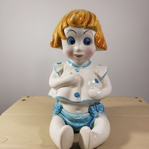Little Girl Ceramic Bank Made in Italy